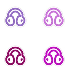 Set of paper stickers on white background earmuffs vector