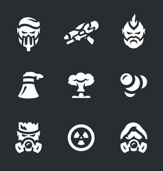 set of post-apocalypse icons vector image