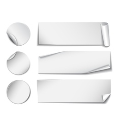 Set of white rectangular and round paper stickers vector image