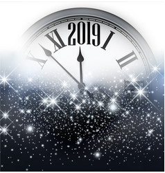 Shiny 2019 new year background with clock vector