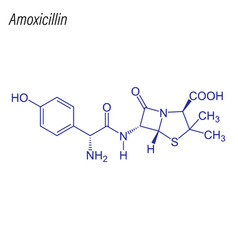 Skeletal formula amoxicillin drug chemical vector
