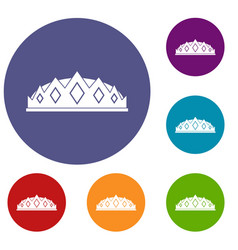 Small crown icons set vector