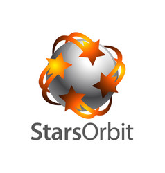 stars orbit on grey sphere inside logo concept vector image
