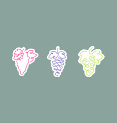 sticker one line art style grapes abstract food vector image