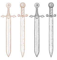 Sword hand drawn sketch vector