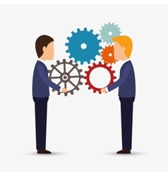 Teamwork team persons gears design isolated vector