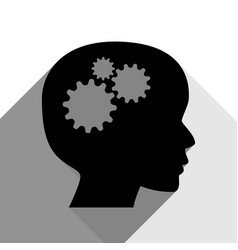 thinking head sign black icon with two vector image