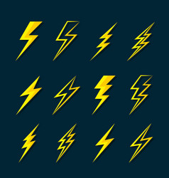 Thunder lightning flat icons set on dark blue vector
