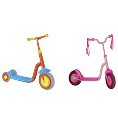 Two cute color kick scooter for boy and girl vector