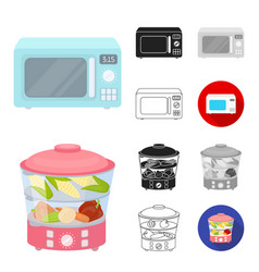 types of household appliances cartoonblackflat vector image