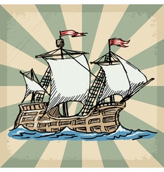 Vintage grunge background with sailboat vector