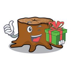 With gift tree stump mascot cartoon vector