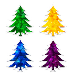 colorful and glowing christmas trees isolated on vector image vector image
