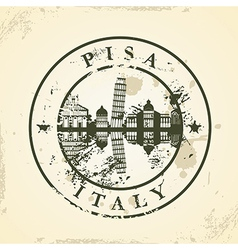 Grunge rubber stamp with Pisa Italy vector image
