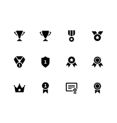 Medals and cup icons vector image vector image