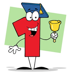 Number One Ringing A Bell And Graduate Cap vector image vector image