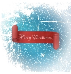 Realistic scroll red Ribbon Merry Christmas vector image