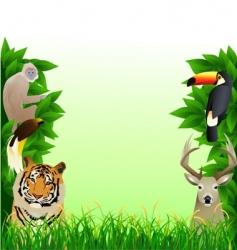 animal forest frame vector image vector image