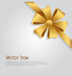 bow golden wide ribbon bright six petals vector image