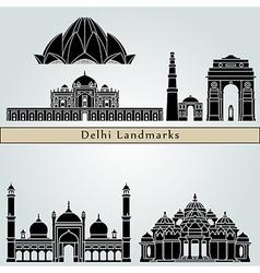 Delhi landmarks and monuments vector image