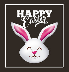 happy easter card cute head rabbit animal black vector image