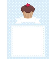 Invitation card with cupcake and polka dots vector image vector image