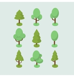 Isometric tree set vector image