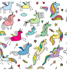 magic unicorns seamless pattern for your design vector image