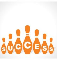 bowling pins make success word vector image vector image