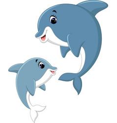 cute dolphin couple cartoon vector image