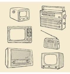 retro tv and radio set vector image vector image