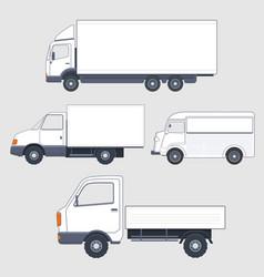 set of different trucks and van truck bodies vector image