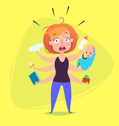 a woman with a child is panicking because of vector image