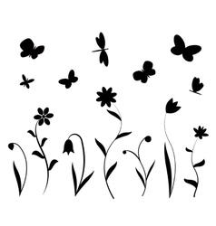 Black flowers butterflies and dragonflies vector image