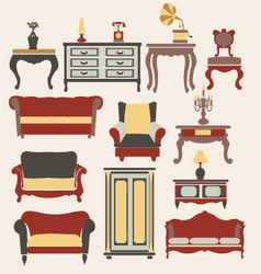 Furniture in vintage style vector image vector image