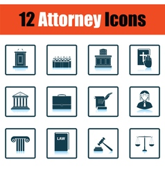 Set of attorney icons vector image vector image