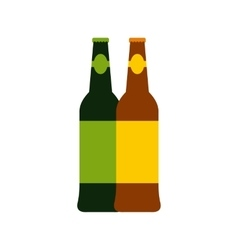 Two bottles of beer icon flat style vector image