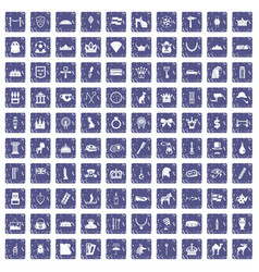100 crown icons set grunge sapphire vector