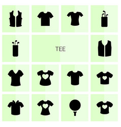 14 tee icons vector image