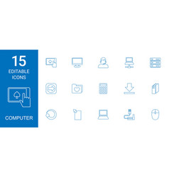 15 computer icons vector image