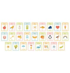 Alphabet kids cards kindergarten abc learning vector