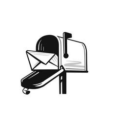 american black open mailbox with letter on white vector image