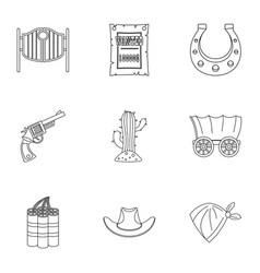 American cowboy icon set outline style vector