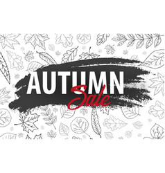 autumn backgrounds with hand-draw pumpkins vector image