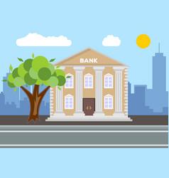 bank building city landscape concept flat design vector image