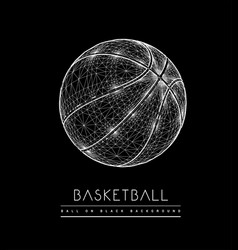 Basketball ball from lines and dots polygonal vector