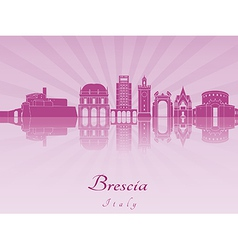 Brescia skyline in purple radiant orchid vector image