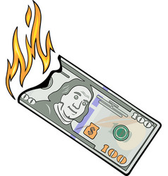 Burning hundred dollars vector