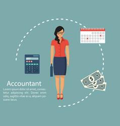Businesswoman accountant concept calculation vector