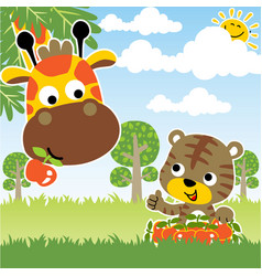 Cartoon giraffe and tiger in jungle vector
